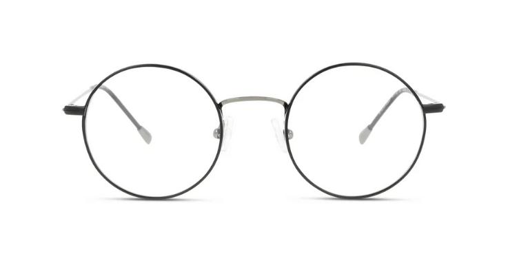 Runde Brille mit grau-schwarzem Metallrahmen von Fuzion