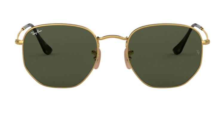Mit dieser eckigen Retro-Sonnenbrille von Ray-Ban setzt du einen goldenen Trend.