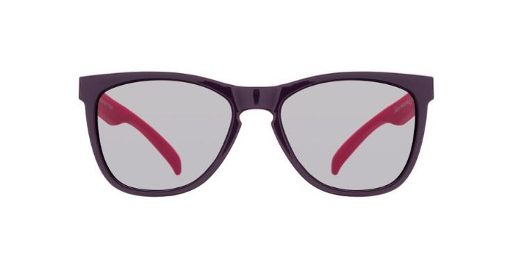 Auf den ersten Blick klassisch-schwarz, überrascht dieses Modell von Solaris mit pinkfarbenen Bügeln