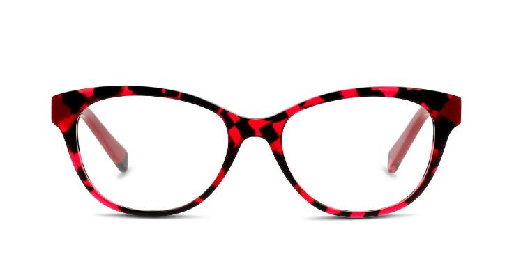 Schwarz-rot-gemustert und im Cat-Eye-Stil: Mit dieser Brillenfassung von MIKI NINN übersieht dich niemand.
