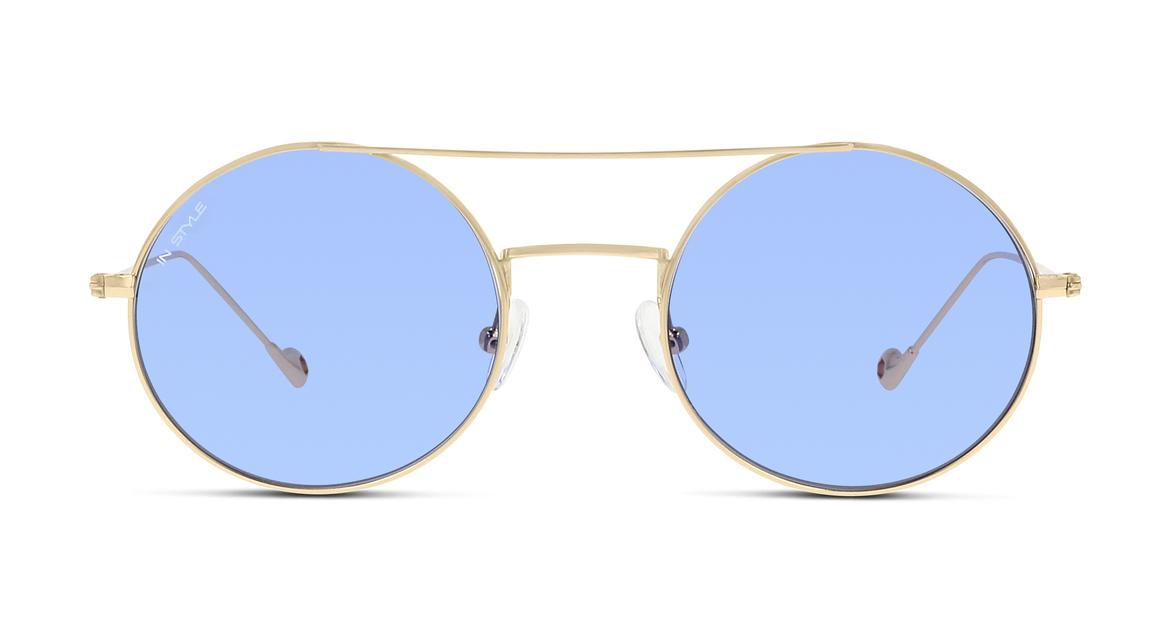 Pastellige Gläser, runder Goldrahmen, Doppelsteg: Dieses Unisex-Modell von IN STYLE vereint gleich mehrere Top-Trends.