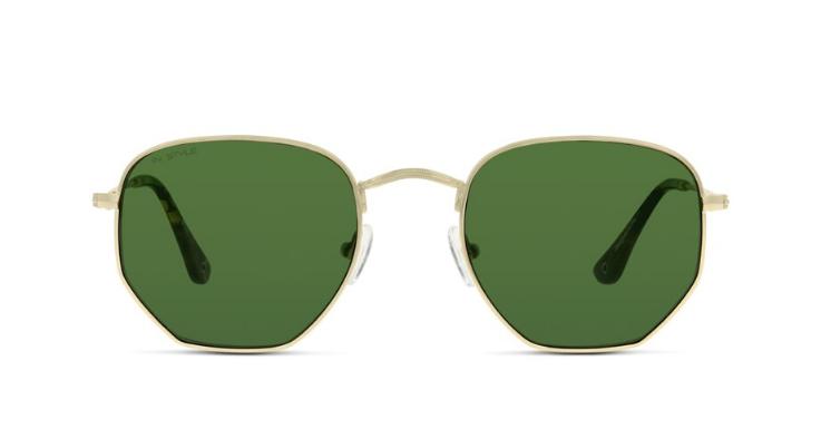 Aus dem Runden wird das Eckige: Diese Sonnenbrille für Herren verbindet weiche mit kantigen Formen.