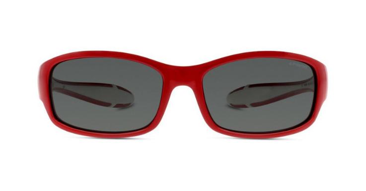 Dynamische Form und weiß-rote Bügel: Polarisierte Sonnenbrille von Polaroid (EAN: 0762753666451).