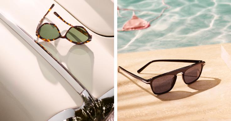Vintage Car: Ein aufregendes Muster trifft auf Fifties-Retro-Flair. Sonnenbrille in Schwarz All-Over mit markantem Steg.