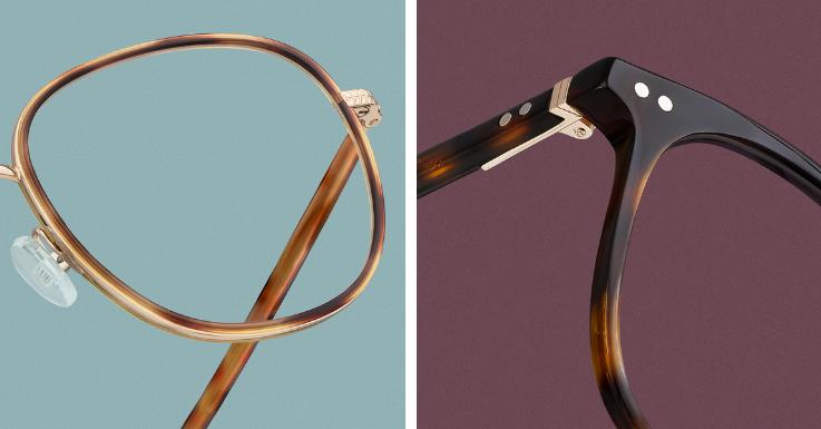 Interessante Farbverläufe in verschiedenen Braun-Karamelltönen. Rechts: Eine klassisch rechteckige Panto-Form trifft auf verwaschene Havana-Farben