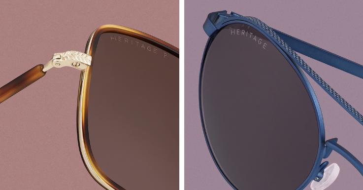 Die Diven-Sonnenbrille neu gedacht. Große rechteckige Gläser, Havana-Muster, filigrane Bügel und Stege. Tiefblau kann auch subtil eingesetzt werden. Filigranes Modell mit detailreichem Doppelsteg.