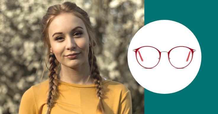 Gegensätze ziehen sich bekanntlich an: So auch eng geflochtene Braids und unser verspieltes Brillenmodell von IN STYLE in bezauberndem Rot
