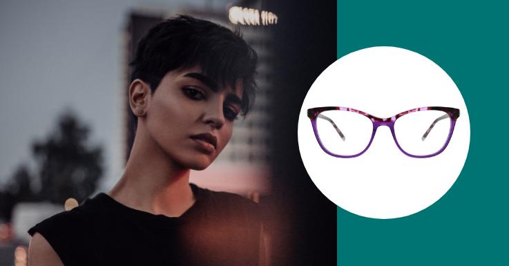 Zu extravagant? Nicht beim Pixie-Look: Farbenfrohe Cat-Eye Brillenfassung von Calvin Klein