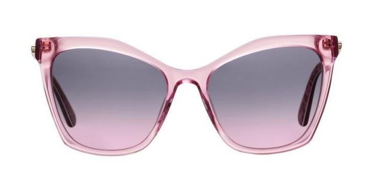 Moschino ist ganz vorne dabei, wenn es um extravagante Überspitzung geht. Rosa Diven-Sonnenbrille aus der Love Moschino-Linie