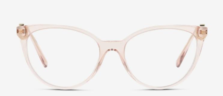 Die Kombination aus Cat-Eye-Form und Transparenz verleiht der Brille von Versace eine Mischung aus Extravaganz und Zurückhaltung