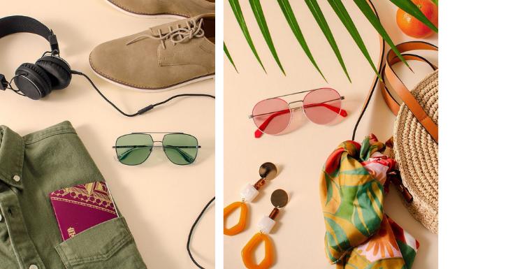 Sonnenbrillen Grün und Rosa
